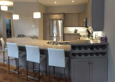 Kitchen with custom wine rack