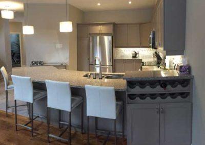Kitchen with custom wine rack